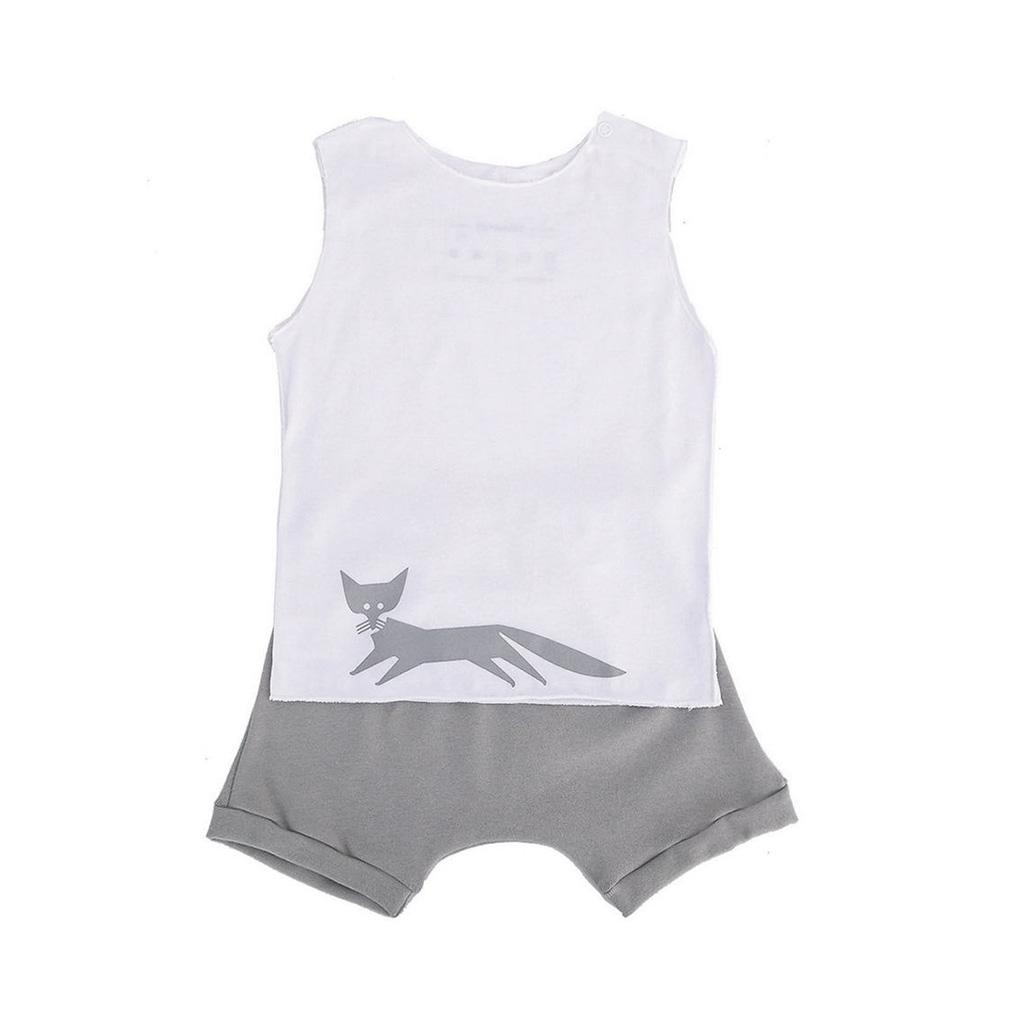 Conjunto para bebê Shorts Cinza e Camiseta com Raposa
