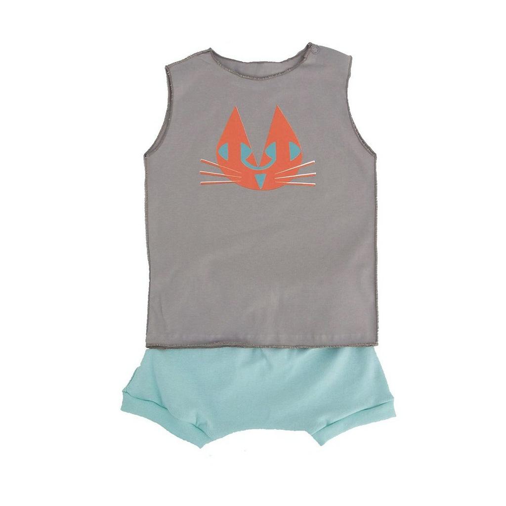 Conjunto para bebê Shorts Verde e Camiseta Raposinha