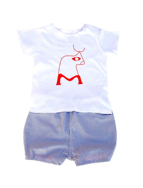 Conjunto para bebê Shorts Xadrez e Camiseta