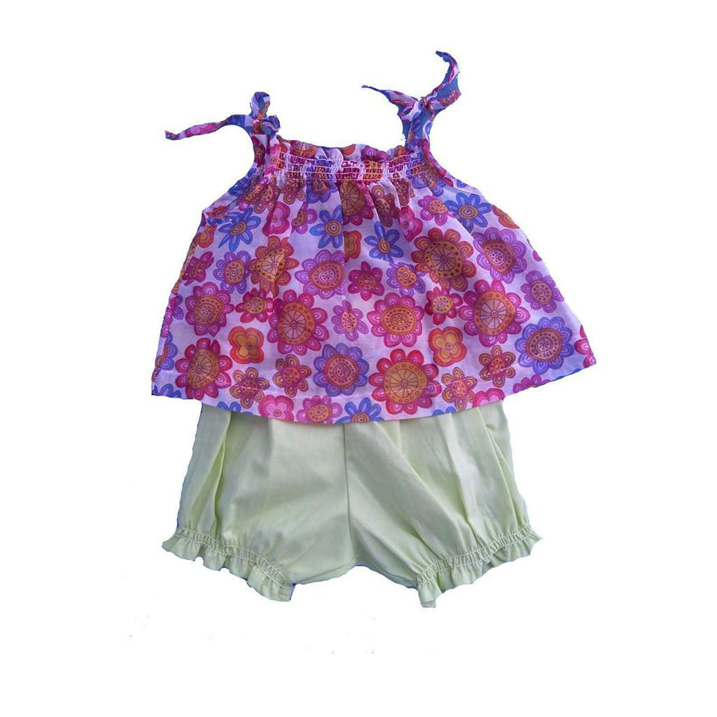 Conjunto Shorts Amarelo e Bata Flores