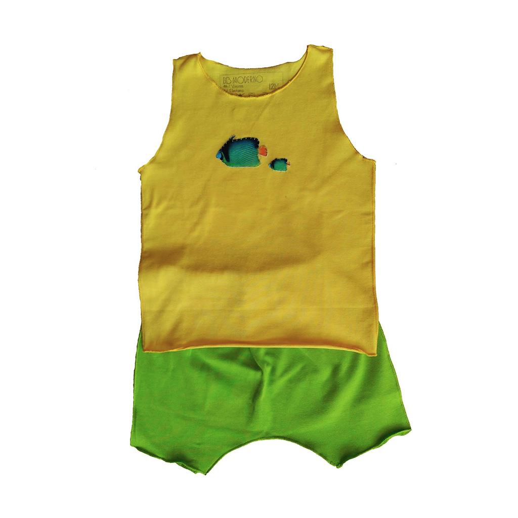 Conjunto Shorts e regata Amarela Peixes para bebê