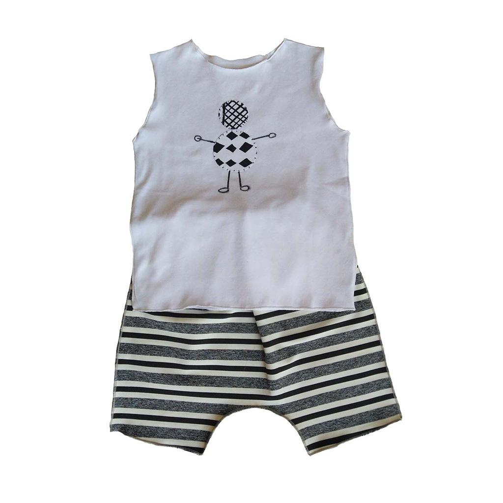 Conjunto Shorts e regata Robozinho para bebê