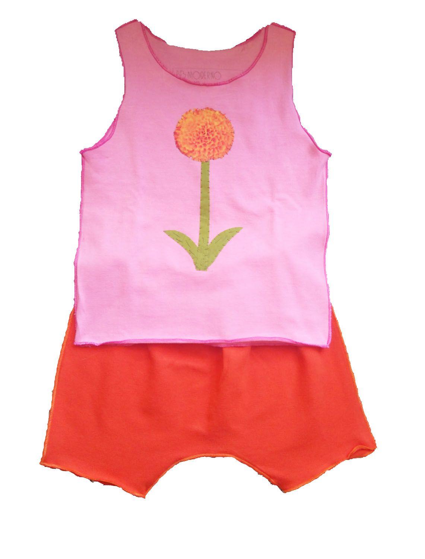 Conjunto shorts e regata rosa para bebê