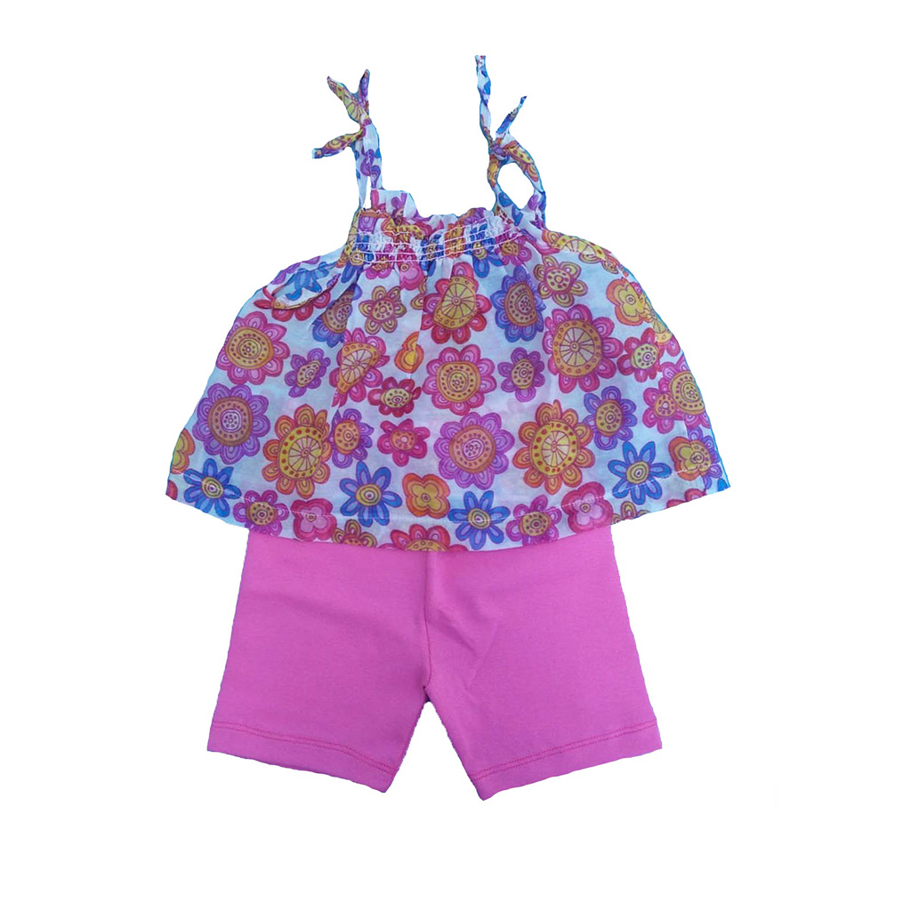 Conjunto Shorts Rosa e bata flores