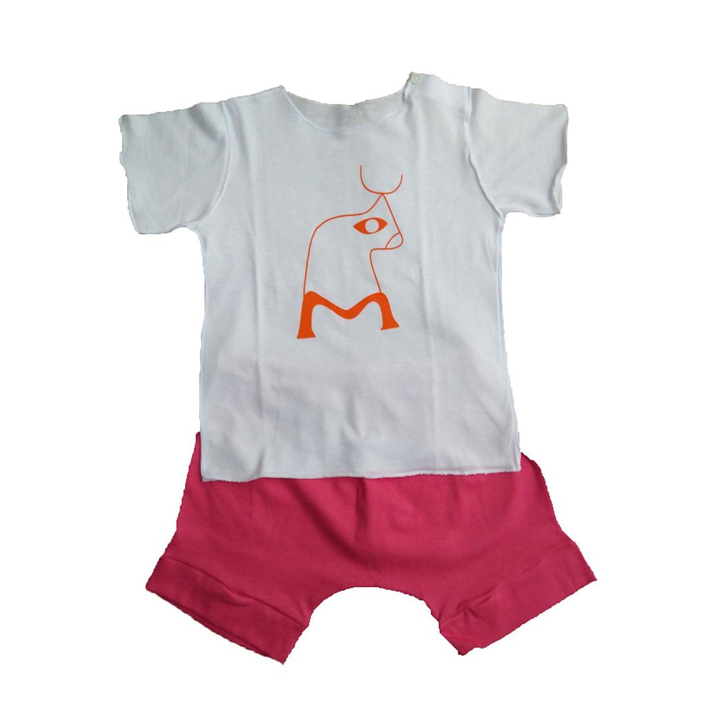 Conjunto Shorts Rosa e Camiseta Boizinho para Bebê