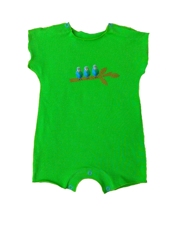 Macacão Manga Curta Verde Pássaros para Bebê