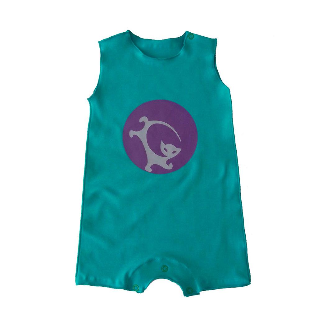 Macacão para Bebê Cavado Verde Gato