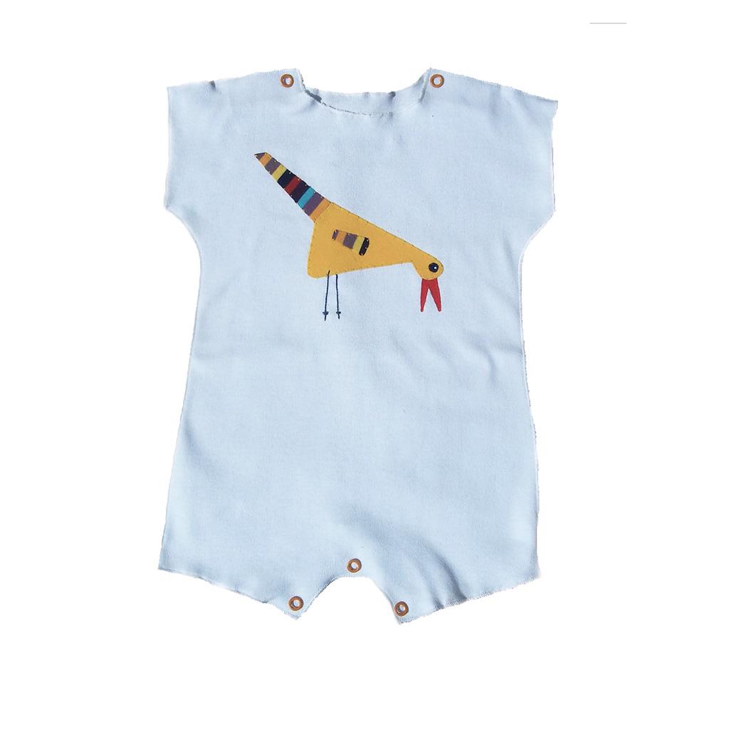 Macacão para bebê Manga Curta Branco Passaro
