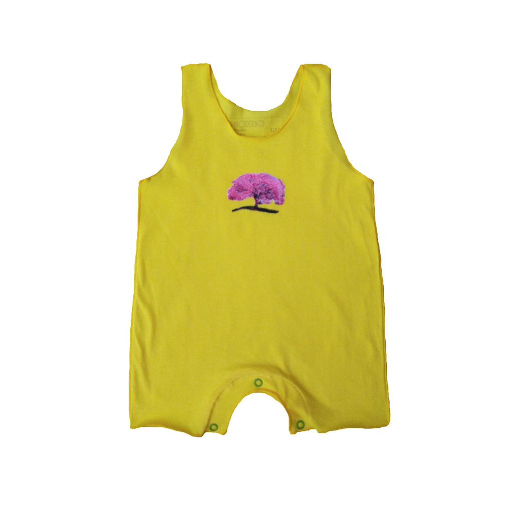 Macacão Regata Amarelo Árvore para Bebê