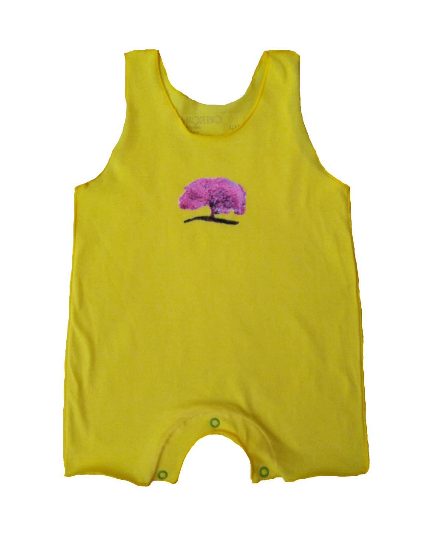 Macacão Regata Amarelo Flor para Bebê