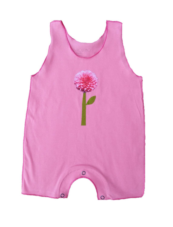 Macacão Regata Rosa Flor para Bebê
