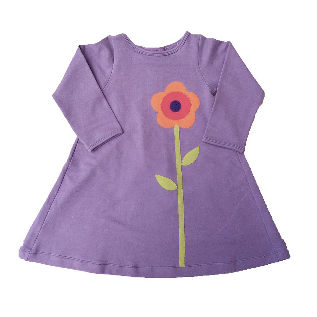 Vestido Lilás Flor com Pregas