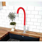Torneira 1/4 de Volta Cozinha Mesa Gourmet RED Emborrachada Flexível 1167
