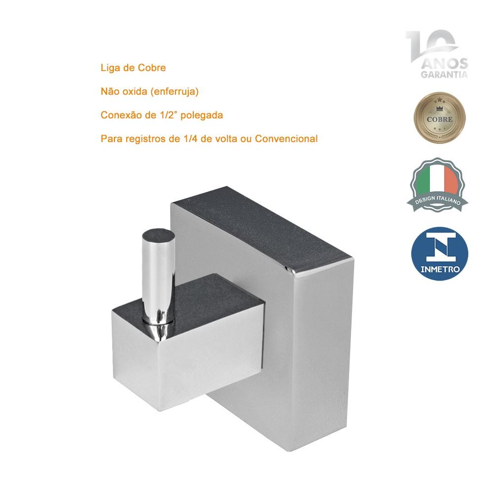 Acabamento Metal P/ Registro Quadrado Lucca 1/2 3/4 E 1 Fabrimar