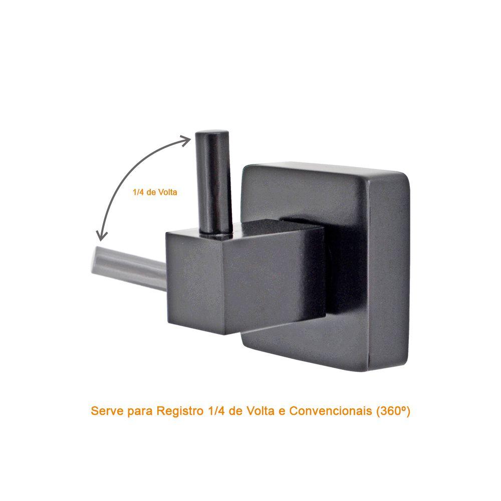 ACABAMENTO PARA REGISTRO 1/2 3/4 E 1 LUCCA BLACK 1416 PRETO FOSCO PADRAO DECA