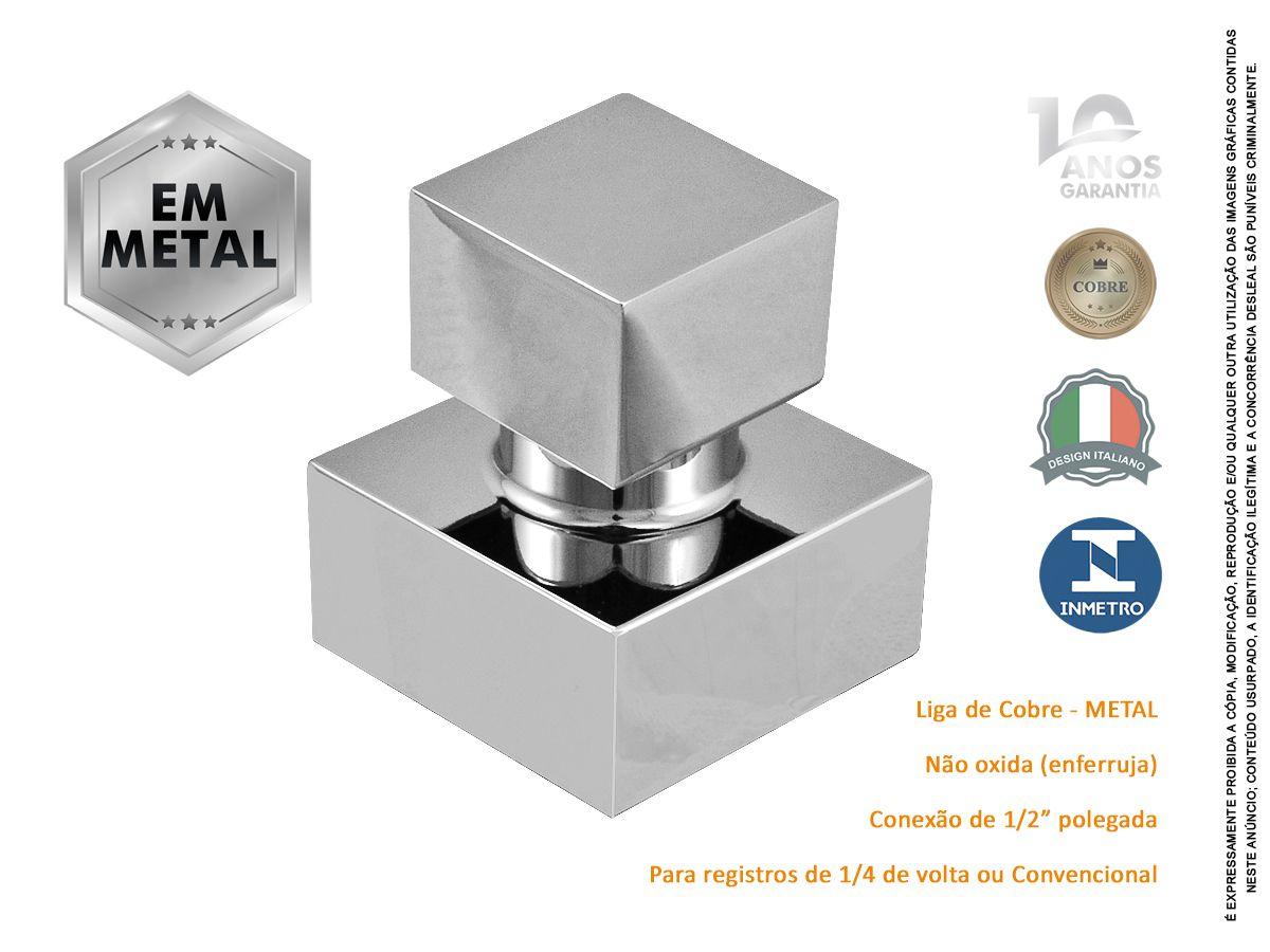 Acabamento Quadrado de Metal Registro 1/2 3/4 E 1 Pisa Fabrimar