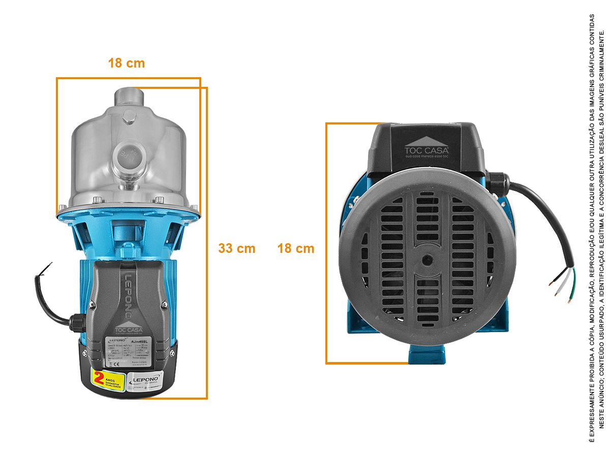 Bomba D'água Autoaspirante 0,6 cv 220v Lepono Ajm45sl