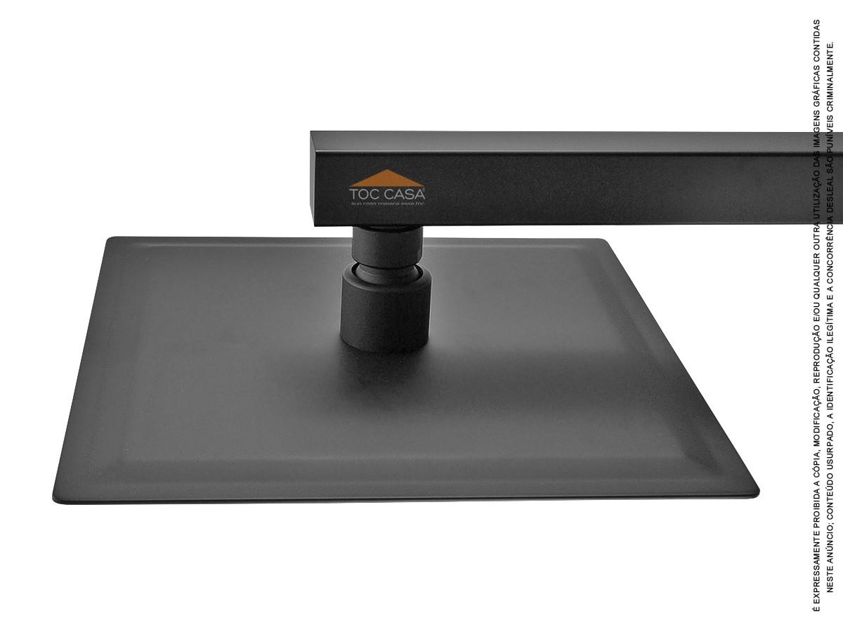 Ducha Chuveiro Slim Quadrado 20x20cm Preto Fosco Black Matte