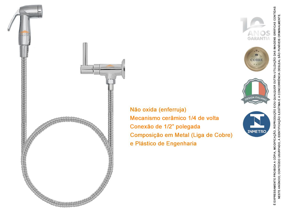 Ducha Higienica 1/4 Volta Luxo 1,2 M Garantia 10 Anos Tivoli
