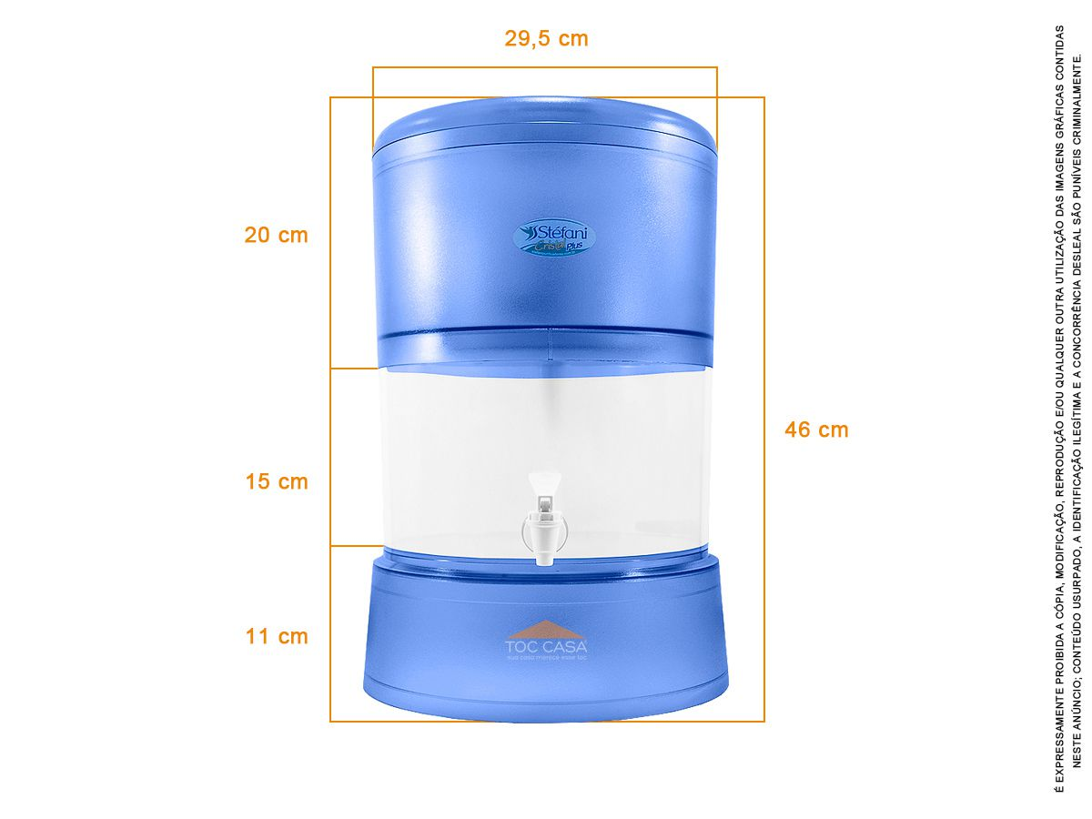 Filtro Cristal Plus 08 Litros 2 Velas Tripla Ação Esterilizante
