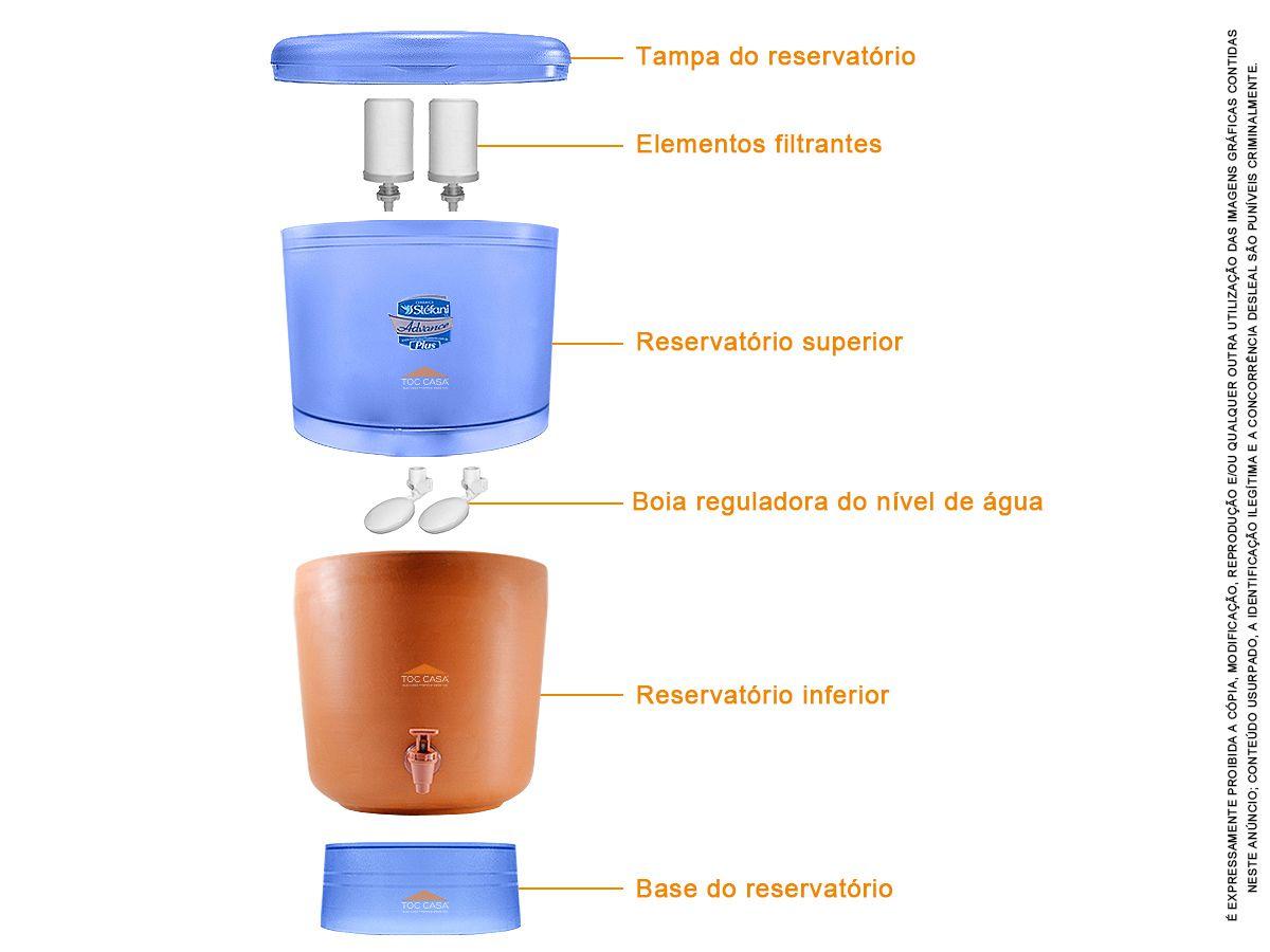 Filtro de Barro 8 Litros Com Boia e 2 Refil Advanced Plus