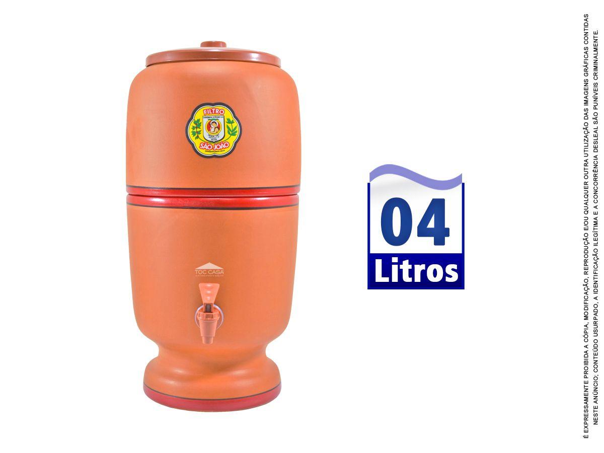 Filtro de Barro São João Tradicional 04 Litros Vela e Boia