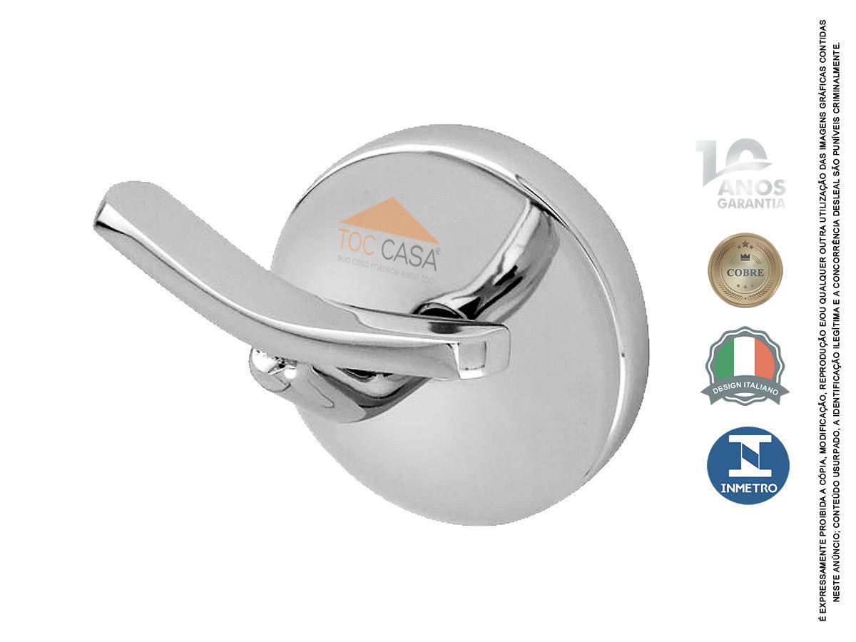 Gancho Cabide Duplo de Toalha Metal Inox Roma 150210