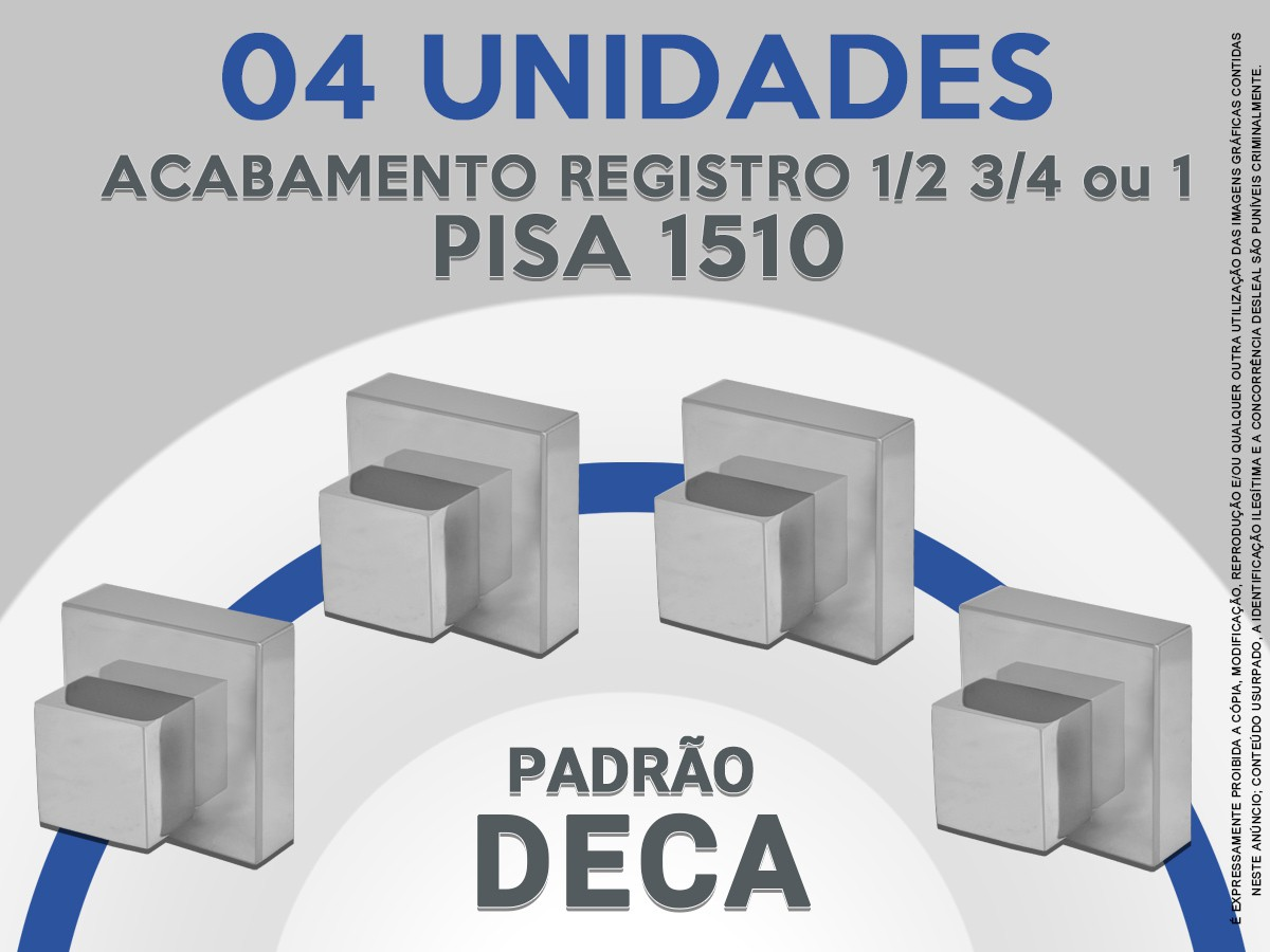 Kit 04 Acabamento De Registro Quadrado Abs 1/2 3/4 Ou 1 Pisa