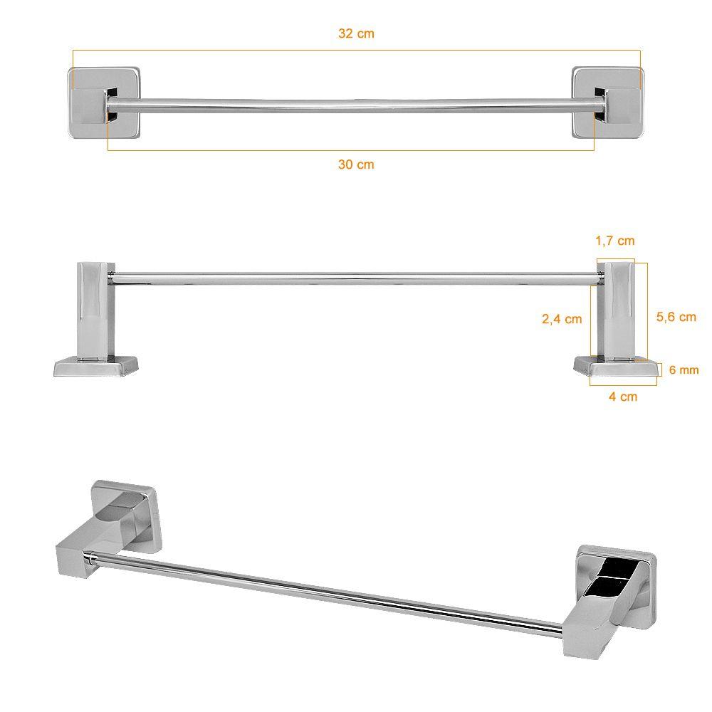 Kit Acessorios 3 Pecas Quadrado Banheiro Metal Lucca