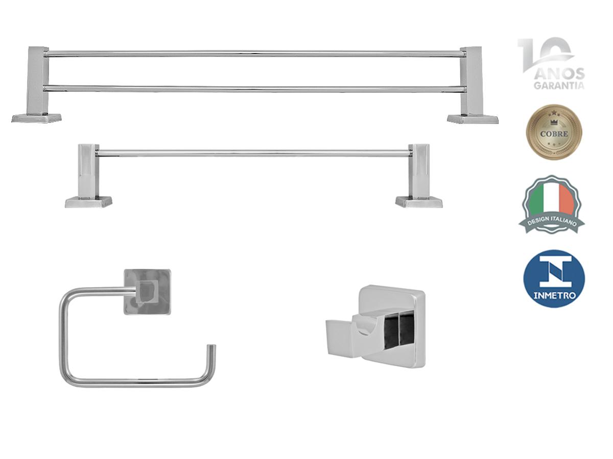 Kit Acessorios 4 Pecas Quadrado Banheiro Metal Lucca
