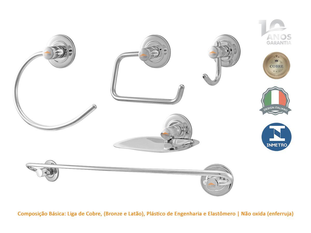 Kit Acessorios Banheiro 5 Peças Cromado 10 Anos Garantia Pavia