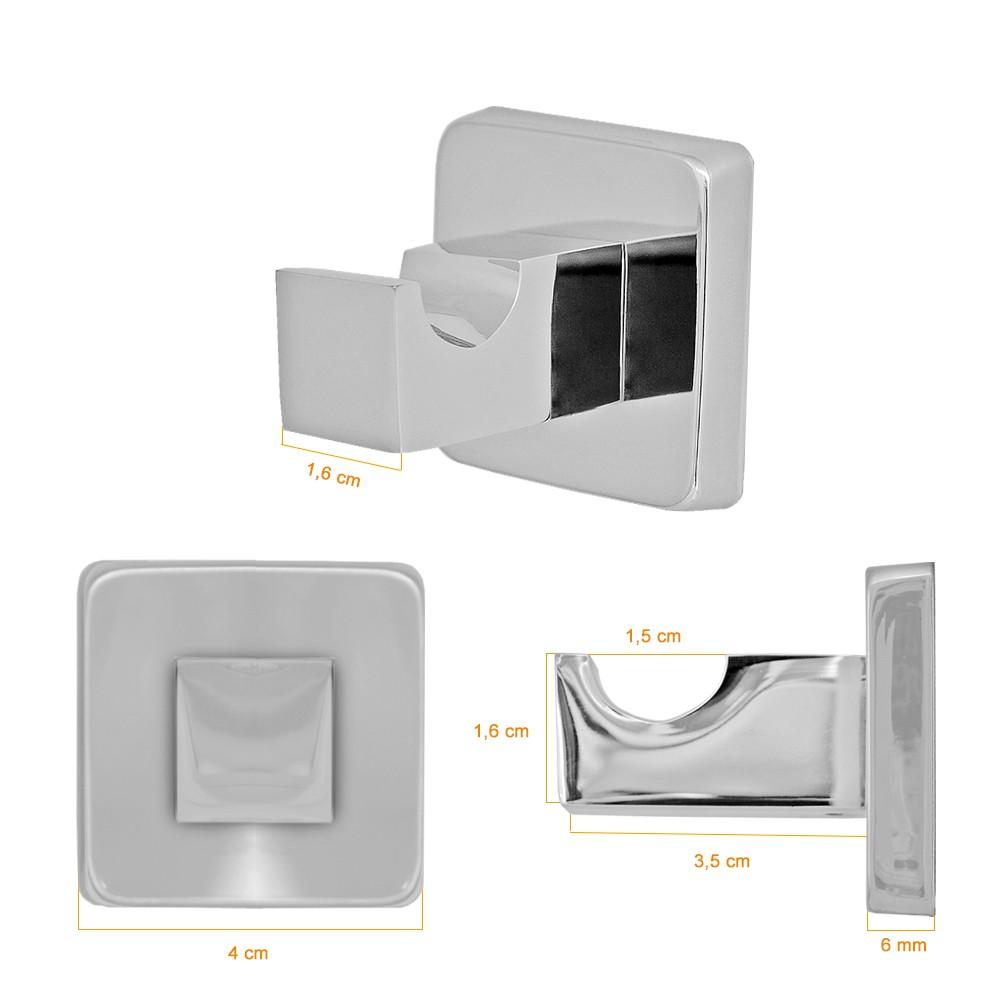 Kit Acessórios Para Banheiro Metal 5 Peças Idralquad Cromado