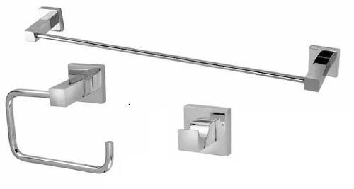 Kit Acessórios Para Banheiro Quadrado Metal - 3 Peças Lucca