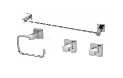 Kit Acessórios Para Banheiro Quadrado Metal - 4 Peças Lucca