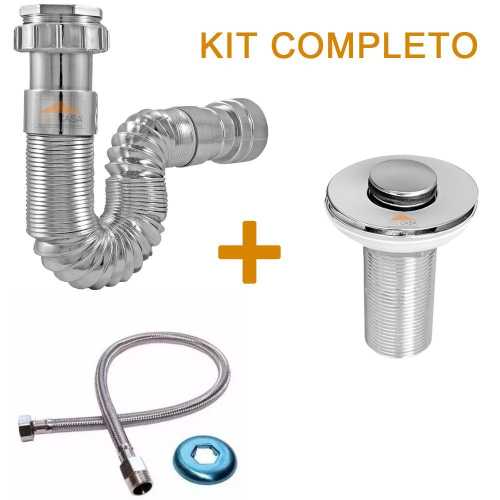 Kit Válvula Click 4cm 40mm + Sifão Cromado + Flexível 60 Cm
