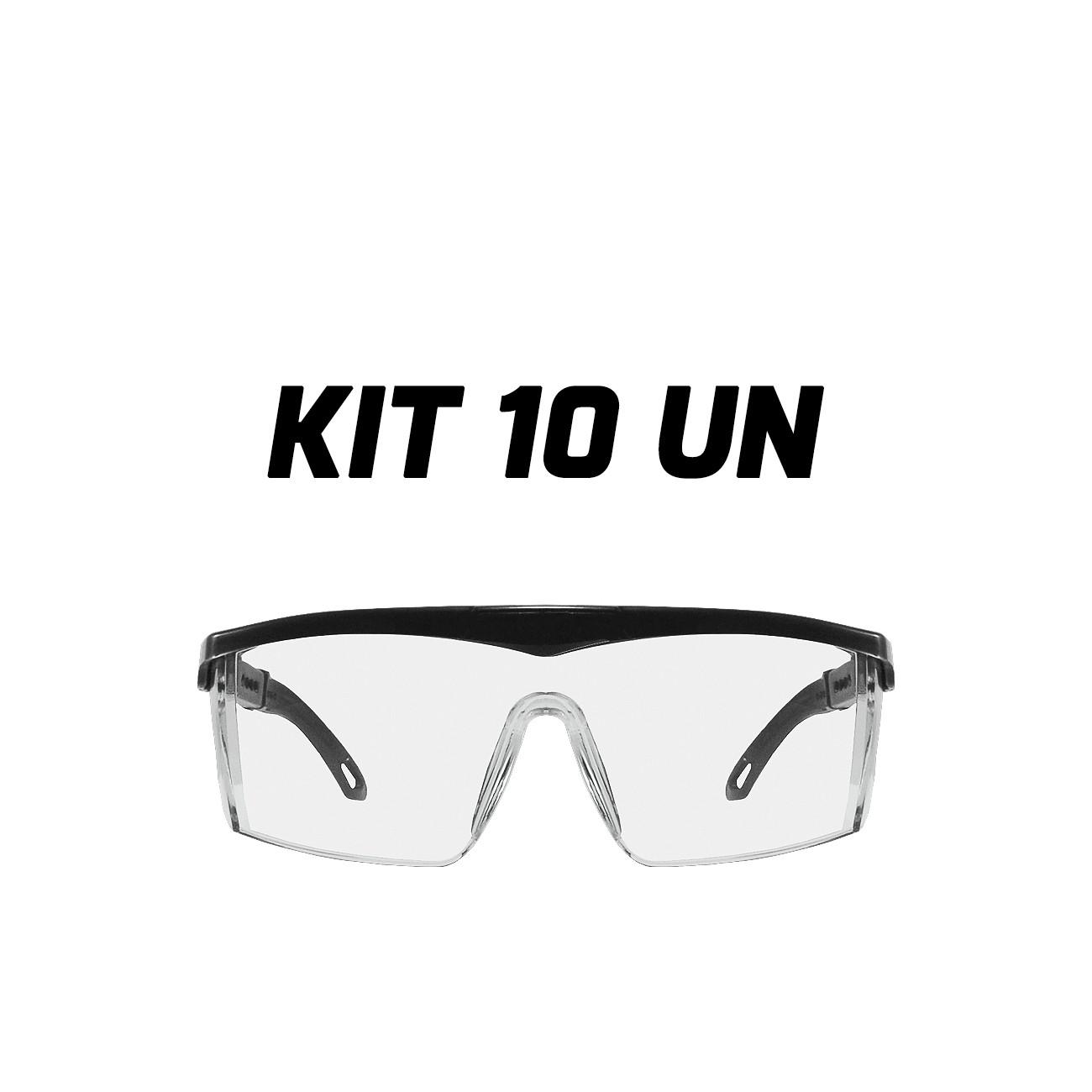 Óculos Proteção Certificado Segurança Rj Incolor Kit 10 Un