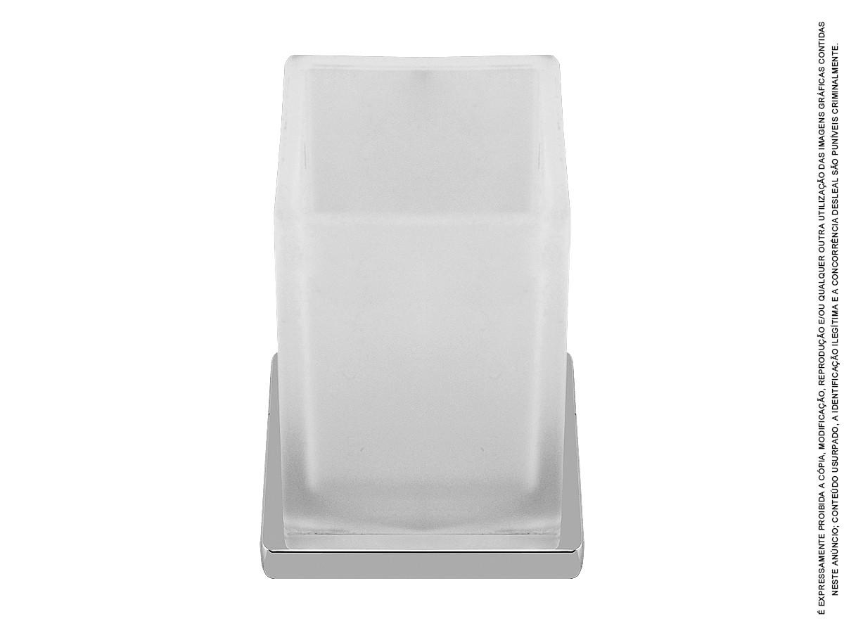 Porta Escova de Vidro E Metal Pesado Linha Kim Di Casa