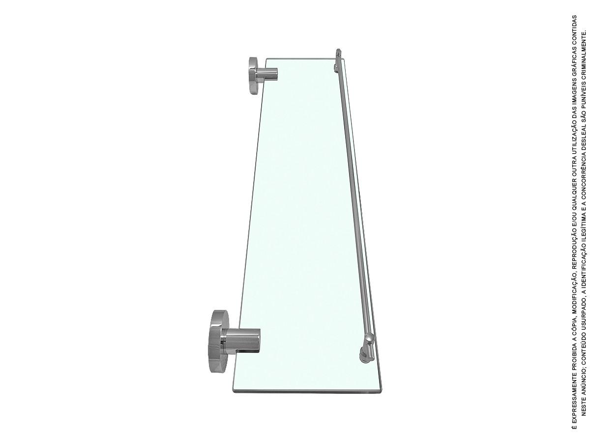 Porta Shampoo Com Grade Latão E Vidro Temperado 52 Cm Nm1287