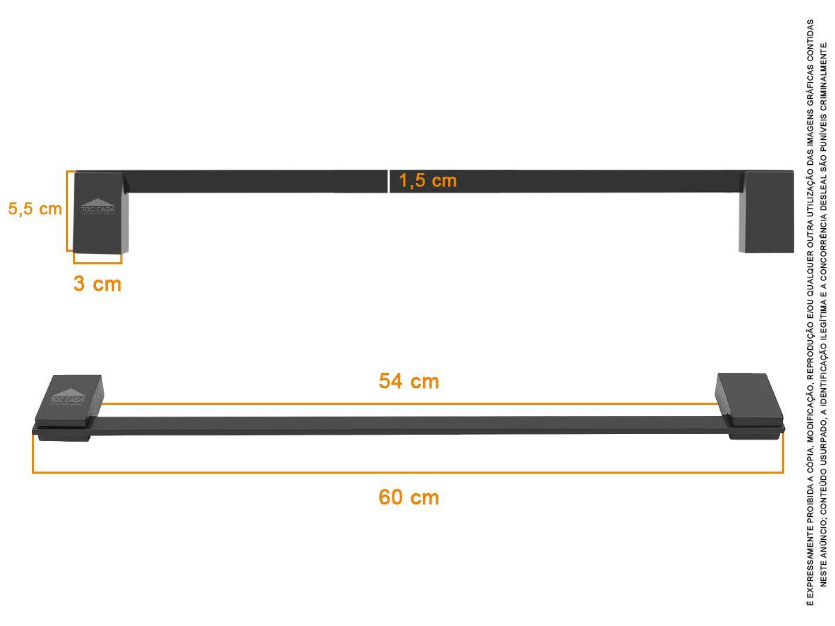 Porta Toalha 600mm 60 CM Padrão Luxo Siena Black 2040
