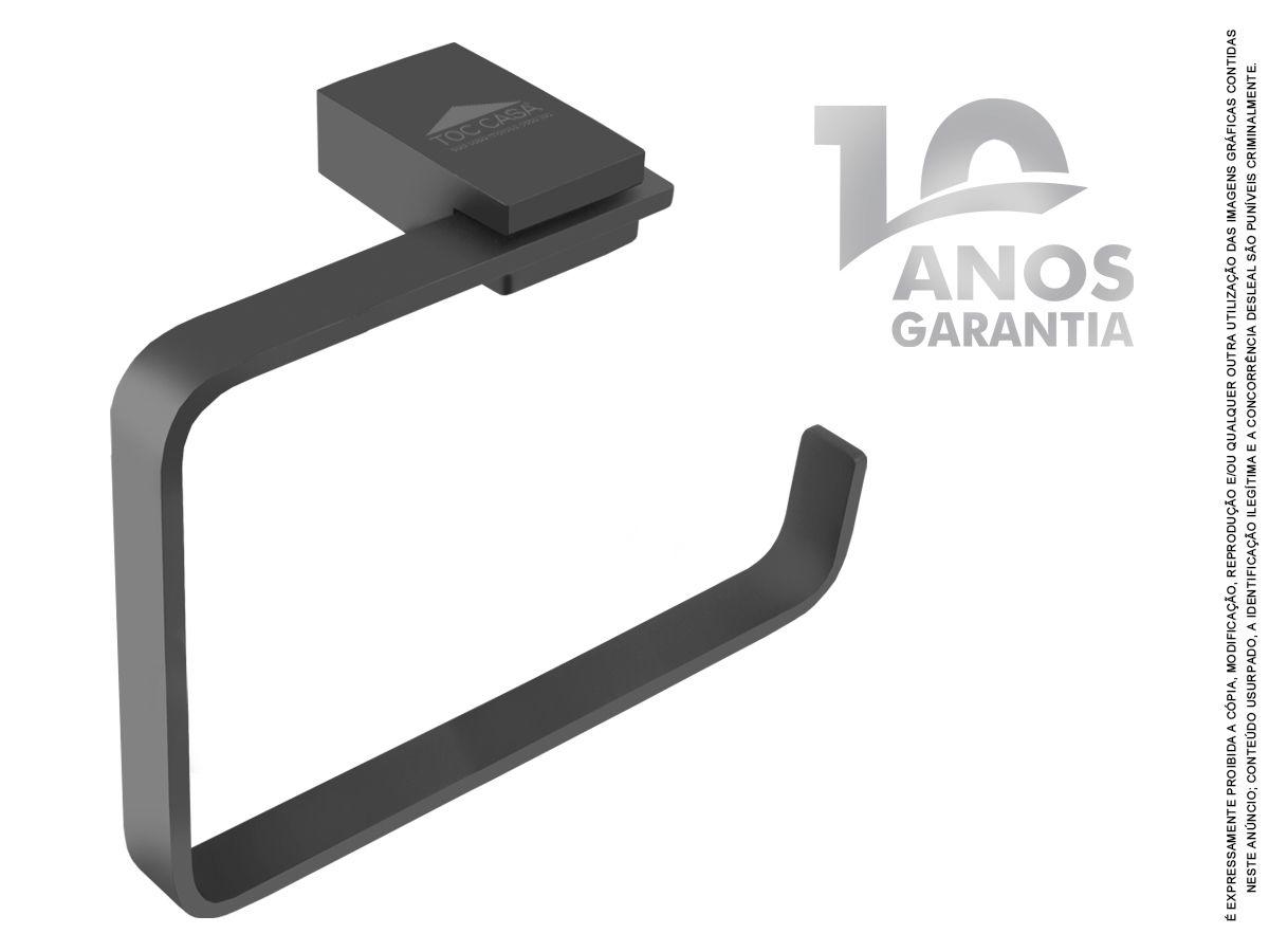 Porta Toalha de Rosto Argola Padrão Luxo Siena Black 2050
