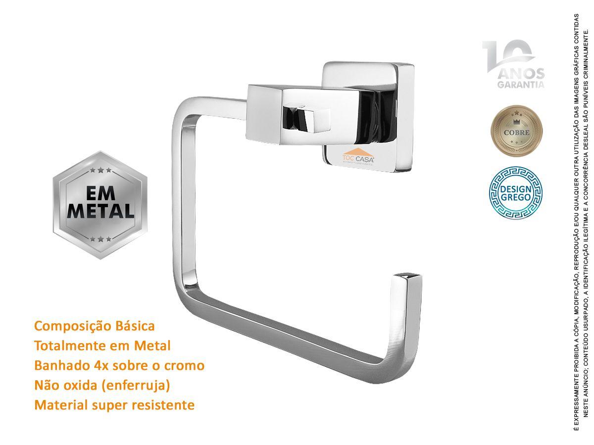 Porta Toalha De Rosto e Mãos Toalheiro Argola em Metal Novara 2050