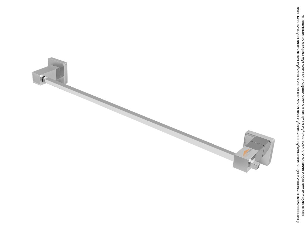 Porta Toalha Quadrado 100% Metal 555 Mm Luxo Novara 2040