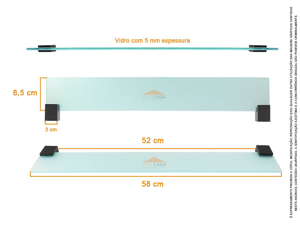 Prateleira Porta Shampoo 600mm Padrão Luxo Siena Black 2030