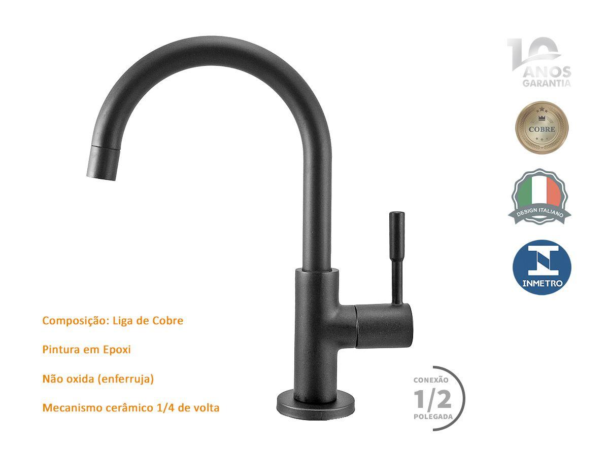 Torneira Banheiro Lavatório Bica Móvel Mesa Black Fosco Metal 10 Anos Garantia - Bari Black 1196