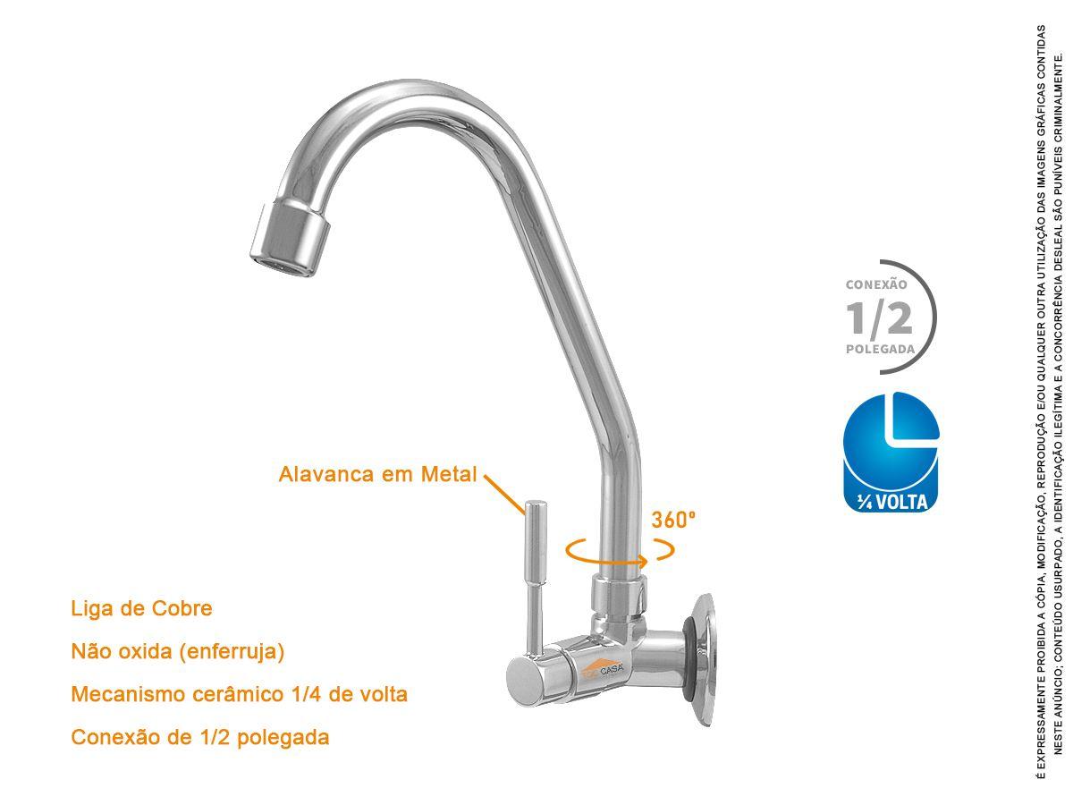 Torneira Banheiro Lavatório Parede Bica Móvel 1/4 Volta Metal