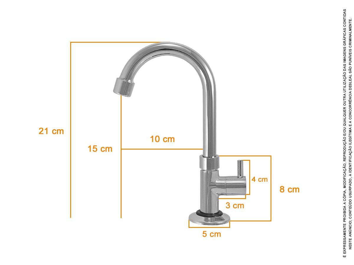 Torneira Banheiro Metal Lavatório 1/4 De Volta - 1196 Turim