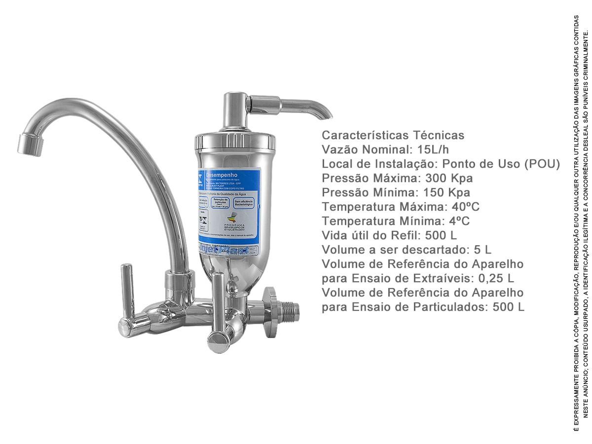 Torneira Bica Móvel C/ Filtro Abs Cromado Slim 1/4 2167