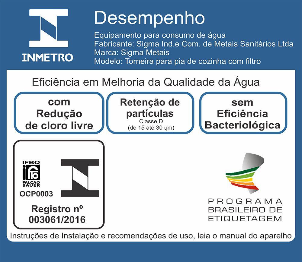 Torneira Com Filtro Cozinha Parede Gourmet + 3 Refil Certificado Inmetro Com 10 Anos Garantia Nacional