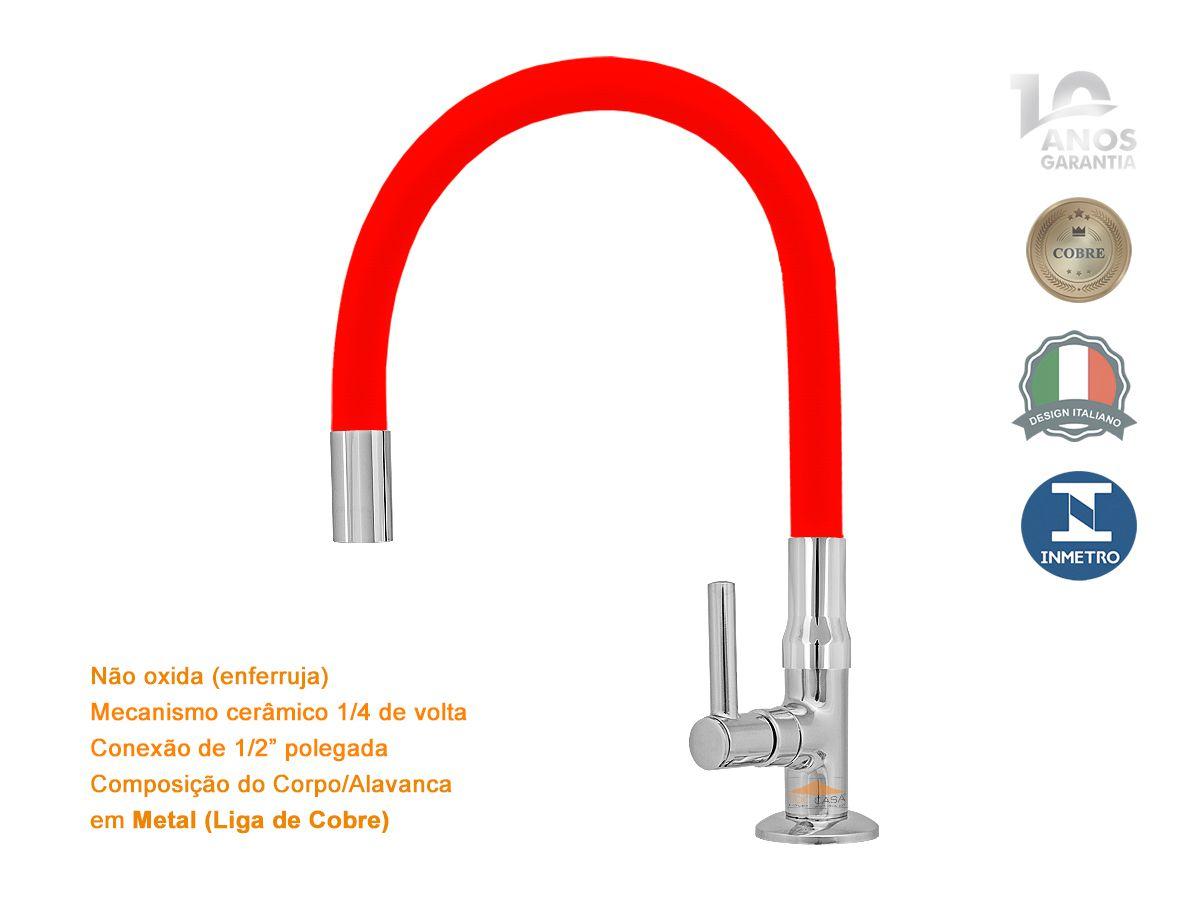 Torneira Cozinha Mesa Gourmet Vermelha Flexível Emborrachada 1/4 Volta