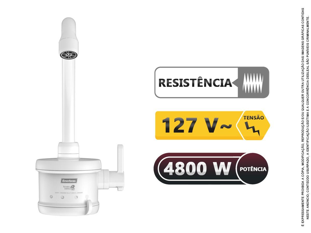 Torneira Elétrica Cozinha 4 Temp 1/4 Volta 4800w 127v